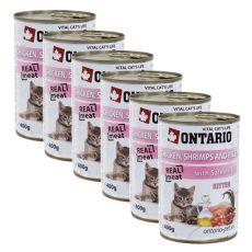 Conservă ONTARIO Kitten - cu pui, creveți, orez și ulei  - 6 x 400g