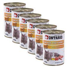 Conservă ONTARIO pentru pisici - cu pui, iepure și ulei - 6 x 400g