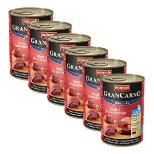 Conservă GranCarno Original Junior carne de vită și inimi de curcan - 6 x 400g