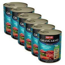 Conservă GranCarno Original Adult vită și somon + spanac - 6 x 800g