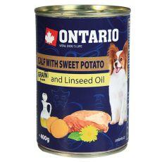 Conservă ONTARIO Miel cu cartofi dulci și ulei de semințe de in – 400g