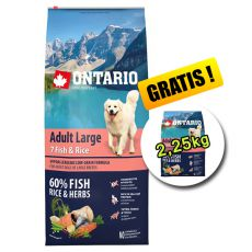 ONTARIO Adult Large 7 Fish & Rice 12kg + 2,25kg GRATUIT