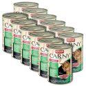 Hrană CARNY ADULT cu carne de vită, curcan şi carne de iepure - 12 x 400g