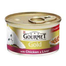 Conservă Gourmet GOLD - bucățele suculente de pui și ficat, 85g