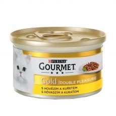 Conservă Gourmet GOLD - bucățele fripte și înăbușite de vită și pui, 85g