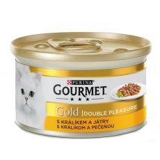 Conservă Gourmet GOLD - bucăți de iepure și ficat fripte și înăbușite, 85g