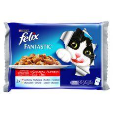 Pungă FELIX Fantastic - carne de vită și de pui în gelatină, 400 g