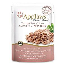 Pliculeț APPLAWS Cat Pouch,  ton și somon în gelatină 70g