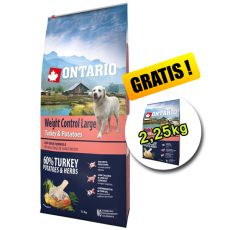 ONTARIO Weight Control Large turkey & potatoes 12kg + 2,25kg GRATUIT
