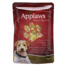 Hrană la plic APPLAWS dog, cu pui, vită, porumb şi broccoli 150g