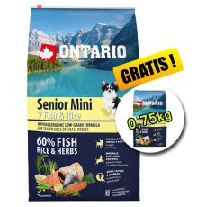 ONTARIO Senior Mini 7 Fish & Rice 6,5kg + 0,75kg