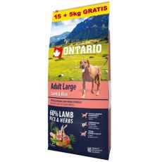 ONTARIO Adult Large - lamb & rice 15+5kg GRATIS