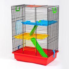 TEDDY II color - cuşcă pentru hamsteri cu accesorii din plastic