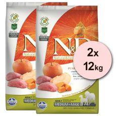 Farmina N&D GF PUMPKIN  adult dog medium/maxi,wild boar & apple- 2 x 12kg