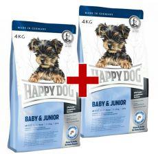 Happy Dog Mini Baby & Junior 4 kg + 4 kg GRATUIT
