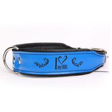 Zgardă din piele I love my dog,albastru-negru 4 cm x 34 - 42 cm