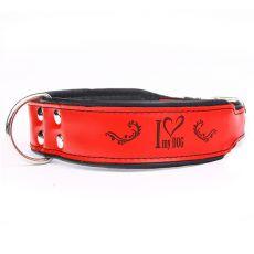 Zgardă din piele I love my dog, roșu - negru 5 cm x 52 - 61 cm