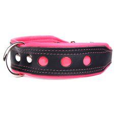 Zgardă reflectorizantă Neo, negru cu roz 4 cm x 33 - 41 cm
