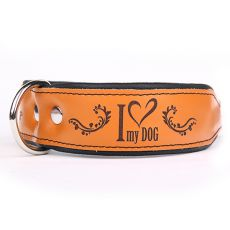 Zgardă din piele I love my dog,maro-negru 4 cm x 38 - 46 cm