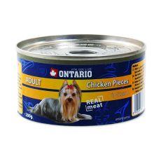 Conservă ONTARIO Adult pentru câini, bucăți de pui + pipote., 200g