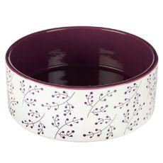 Bol de ceramică pentru câine,alb -roșu rubiniu 1,4 L