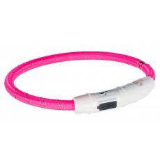 Zgardă LED M-L, roz 45 cm