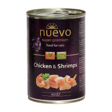 Conservă NUEVO CAT Adult Chicken & Shrimps 400 g