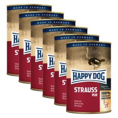 Happy Dog Pur - Strauss / struț, 6 x 400g, 5+1 GRATUIT