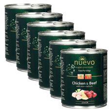 Conservă NUEVO DOG Junior Chicken & Beef 6 x 800 g, 5 + 1 GRATUIT