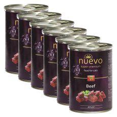 Conservă NUEVO CAT Adult Beef 6 x 400 g, 5 + 1 GRATUIT