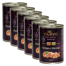 Conservă NUEVO CAT Adult Chicken & Shrimps 6 x 400 g, 5 + 1 GRATUIT