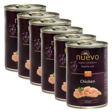 Conservă NUEVO CAT Adult Chicken 6 x 400 g, 5 + 1 GRATUIT