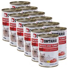 Conservă ONTARIO pentru pisici - cu pui, curcan și ulei - 12 x400 g