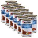 Conservă ONTARIO pentru pisici - cu vită, somon și ulei - 12 x 400 g