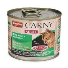 Hrană CARNY ADULT cu carne de vită, curcan şi carne de iepure - 200 g