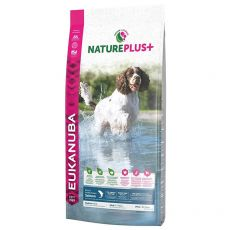Eukanuba Nature Plus+ Adult Medium Bogat în somon proaspăt congelat 14 kg