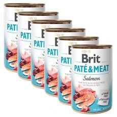 Conservă Brit Paté & Meat Salmon 6 x 400 g