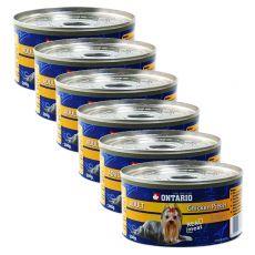 Conservă ONTARIO Adult pentru câini, bucăți de pui + pipote, 6 x 200g