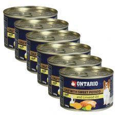 Conservă ONTARIO Miel cu cartofi dulci și ulei din semințe de in – 6 x 200g