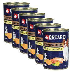 Conservă ONTARIO Miel cu cartofi dulci și ulei de semințe de in – 6 x 400g