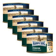 Happy Dog Pur - Pferd / carne de cal, 6 x 200g, 5+1 GRATUIT