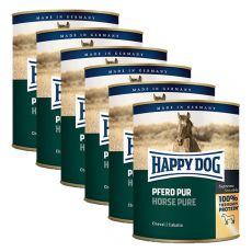 Happy Dog Pur - Pferd / cal, 6 x 800g, 5+1 GRATUIT