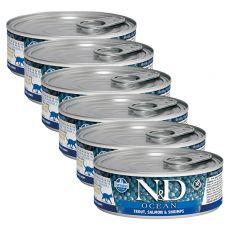 Farmina N&D cat Trout, Salmon & Shrimps can 6 x 80 g, 5+1 GRATUIT
