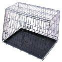 Cușcă metalică pentru câini 91,5 x 62,5 cm, neagră