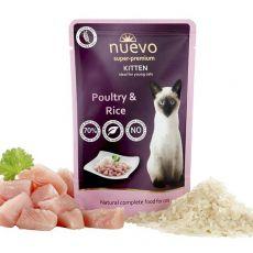 Pouch NUEVO CAT Kitten Păsări de curte și orez85 g