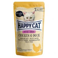 Pouch Happy Cat ALL MEAT Kitten Junior pui & rață 85 g