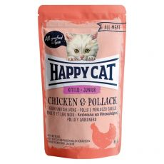 Pouch Happy Cat ALL MEAT Kitten Junior pui & Pollack 85 g