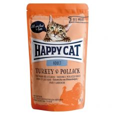 Pliculeț Happy Cat ALL MEAT Adult Turkey & Pollack 85 g