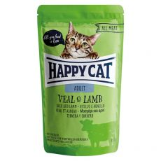 Pliculeț Happy Cat ALL MEAT Adult Vițel& miel 85 g