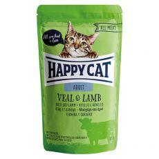Pouch Happy Cat ALL MEAT Adult Vițel& miel 85 g